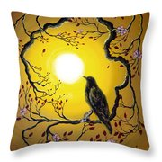 A Raven Remembers Spring Throw Pillow