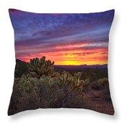 A Red Hot Desert Sunset Throw Pillow