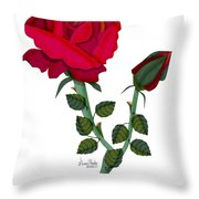 A Red Rose Blooms In Winter Throw Pillow