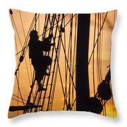 A Reenactors Climbs Up A Reconstructed Throw Pillow