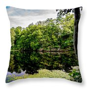 A Reflected Forest On A Lake With Lily Pads Throw Pillow