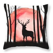 A Reindeer In The Woods Throw Pillow