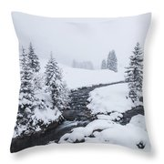 A River And Winter Landscape In Austria Throw Pillow