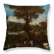 A River Landscape Throw Pillow