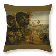 A River Landscape With Figures On A Country Road Throw Pillow
