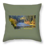 A River Runs Thru Autumn Throw Pillow