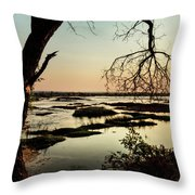 A River Sunset In Botswana Throw Pillow