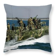 A Riverine Command Boat Conducts Throw Pillow
