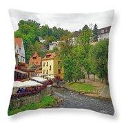 A Riverside Cafe Along The Vltava River In The Czech Republic Throw Pillow