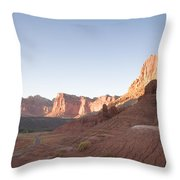 A Road Snakes Through The Parks Cliffs Throw Pillow