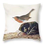 A Robin Perched On A Mossy Stone Throw Pillow