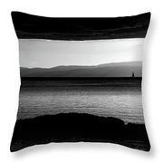 A Rock At Freycinet Bw Throw Pillow