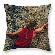 A Rock Climber On A Boulder Throw Pillow