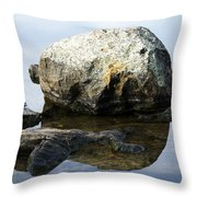A Rock In Still Water Throw Pillow