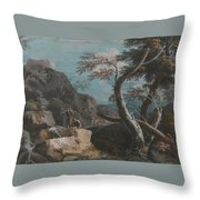 A Rocky Wooded Landscape With Three Peasants Throw Pillow