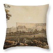 A Roman Landscape With The Colosseum And Figural Staffage Throw Pillow