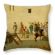 A Roman Street Scene With Musicians And A Performing Monkey Throw Pillow