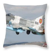 A Romanian Air Force Mig-21c Taking Throw Pillow