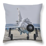 A Romanian Air Force Mig-21c Taxiing Throw Pillow