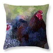 A Rooster And A Hen Throw Pillow