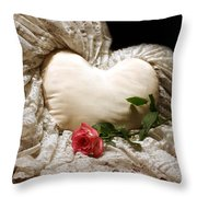 A Rose And A Heart Throw Pillow