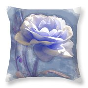 A Rose In Pastel Blue Throw Pillow