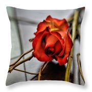 A Rose On Bamboo Throw Pillow