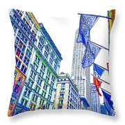 A Row Of Flags In The City Of New York 1 Throw Pillow