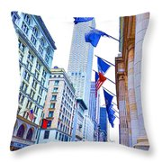 A Row Of Flags In The City Of New York 2 Throw Pillow