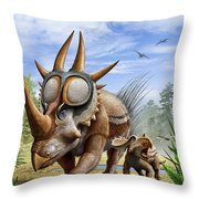 A Rubeosaurus And His Offspring Throw Pillow