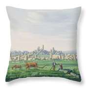 A Ruin Landscape In Sicily Throw Pillow