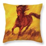 A Running Horse Throw Pillow