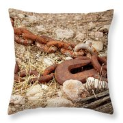 A Rusty Chain And Hook Throw Pillow