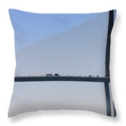 A Sailing Boat Passes Under The Bridge In Tampa Bay Throw Pillow