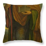 A Saint With A Fortress And A Banner Throw Pillow