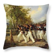 A Scene From The Soldier's Life Throw Pillow by Carl Schulz