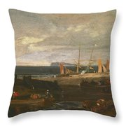 A Scene On The English Coast Throw Pillow