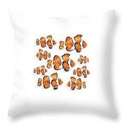 A School Of Clown Fish Throw Pillow