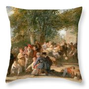 A School Playground Throw Pillow by Thomas Webster
