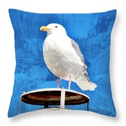 A Seagull Pauses Throw Pillow