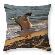 A Seagull Starts His Flight Throw Pillow