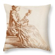 A Seated Woman Throw Pillow