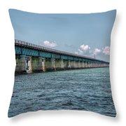 A Section Of The Original Seven Mile Bridge Throw Pillow