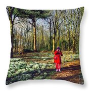 A Selfie In Snowdrop Wood Throw Pillow