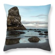 A Serene Morning At Cannon Beach Throw Pillow