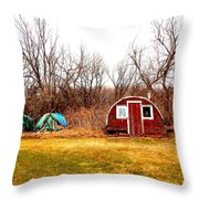 A Shack And Two Stacks Throw Pillow
