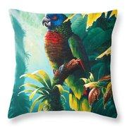 A Shady Spot - St. Lucia Parrot Throw Pillow