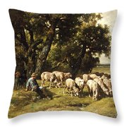 A Shepherd And His Flock Throw Pillow