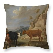 A Shepherd With His Flock In A Landscape With Ruins Throw Pillow