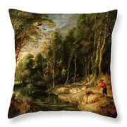 A Shepherd With His Flock In A Woody Landscape Throw Pillow